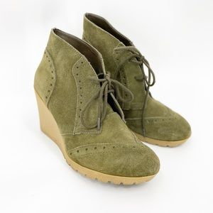MIA Raphael military green lace up wedge booties
